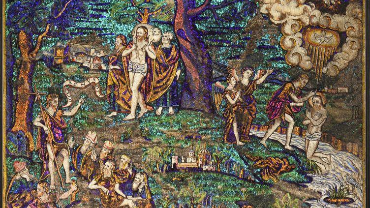 Ecce Agnus Dei, tableau mexicain du XVIe siècle préempté par le musée du Quai Branly (détail) (© Coutau-Begarie Associés)