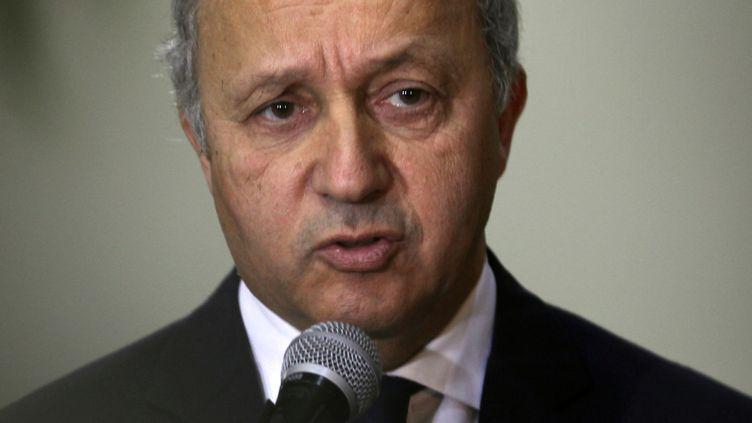 Laurent Fabius, ministre français des Affaires étrangères, le 18 novembre 2012 à Ramallah (Cisjordanie). (ABBAS MOMANI / AFP)