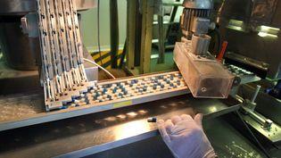 Une chaîne de fabrication de médicaments. Photo d'illustration. (PHILIPPE MERLE / AFP)