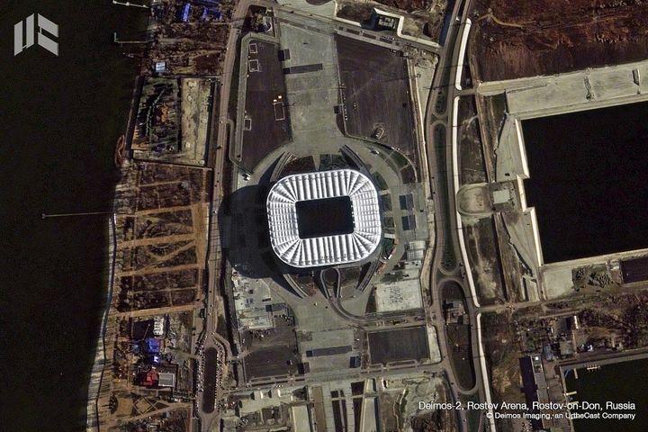 L'Arena de Rostov-sur-le-Don est une enceinte de 45 000 places, spécialement construite pour l'épreuve. (DEIMOS IMAGING / URTHECAST)