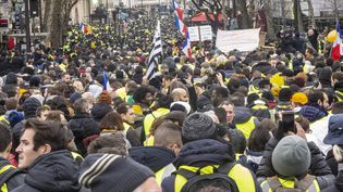 Des manifestants dans les rues de Paris, le 12 janvier 2019, lorsdu neuvième samedi de mobilisation. (DANIEL THIERRY / AFP)