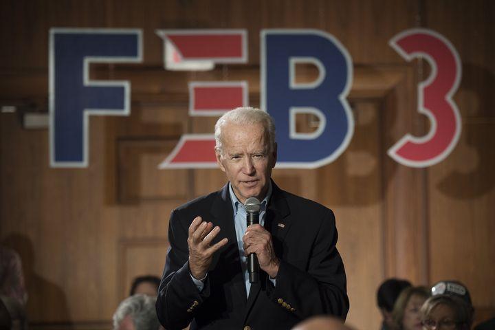 L'ancien vice-président Joe Biden lors d'un meeting de campagne à Iowa City (Etats-Unis), le 30 janvier 2020. (JERKER IVARSSON / AFTONBLADET / TT NEWS AGENCY / AFP)