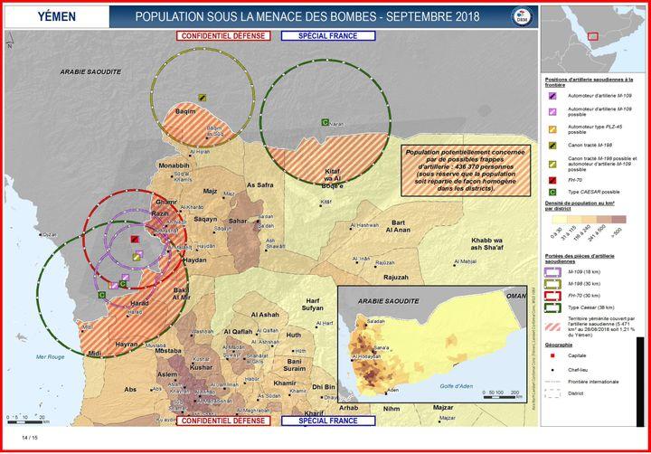 """Extrait d'un document confidentiel défense présentant la """"population potentiellement concernée par de possibles frappes d'artillerie"""" au Yémen, soit """"436 370 personnes"""" (DISCLOSE)"""