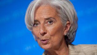 Christine Lagarde, la directrice du Fonds monétaire international, lors d'une conférence de presse à Washington (Etats-Unis), le 20 avril 2013. (NICHOLAS KAMM / AFP)