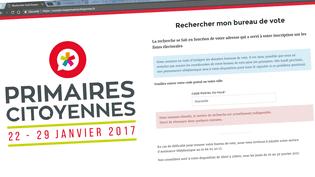Capture d'écran du site internet permettant de trouver son bureau de vote pour la primaire de la gauche, le 10 janvier 2017. (FRANCEINFO)