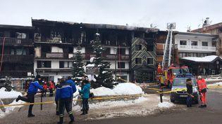 L'immeuble incendiéde Courchevel (Savoie), le 20 janvier 2019. (FANNY HARDY / AFP)