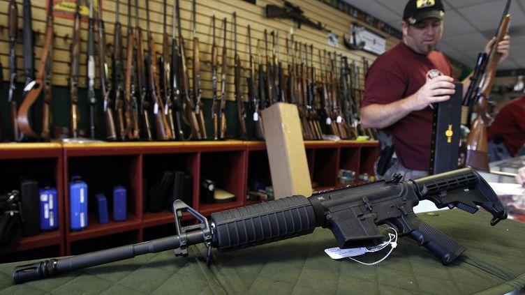 Un fusil d'assault Palmetto M4 dans une boutique de Parker, dans le Colorado (Etats-Unis), le 24 juillet 2012. (SHANNON STAPLETON / REUTERS)