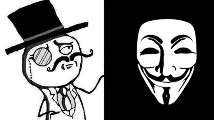 A gauche, l'avatar du groupe Lulzsec, à droite celui des Anonymous (DR)