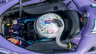 Romain Grosjean dans sa voiture Honda du championnat IndyCar, le 24 avril 2021. (WALTER G ARCE SR GRINDSTONE MEDI / MAXPPP)