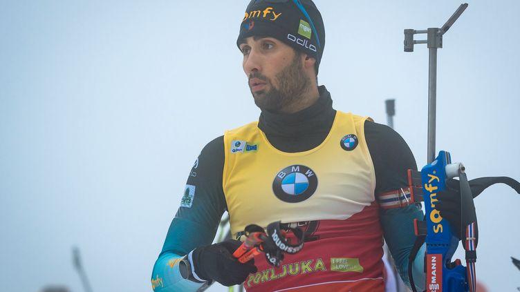 Martin Fourcade lors du 20 kilomètres de Pokljuka (JURE MAKOVEC / AFP)