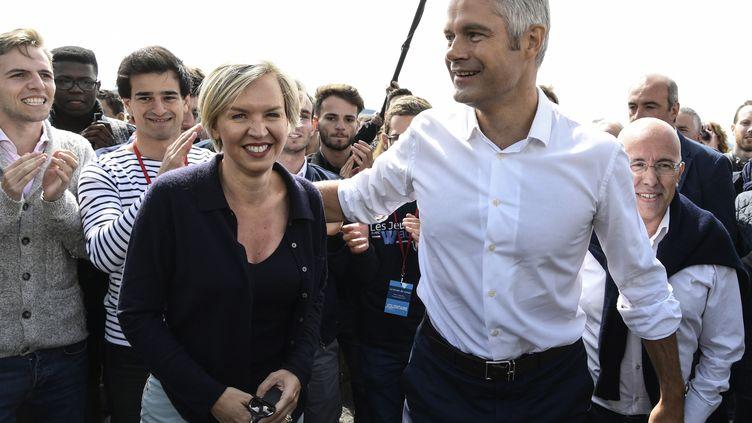 Laurent Wauquiez, le président des Républicains, et Virginie Calmels, la numéro 2 du parti, le 3 septembre 2017. (PHILIPPE DESMAZES / AFP)