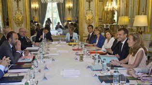 Emmanuel Macron lors duConseil des ministres à l'Elysée, à Paris, le 3 août 2018. (AFP)