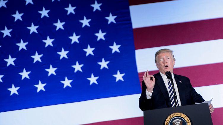 Le président américain, Donald Trump, le 31 août 2018 à Charlotte (Etats-Unis). (BRENDAN SMIALOWSKI / AFP)