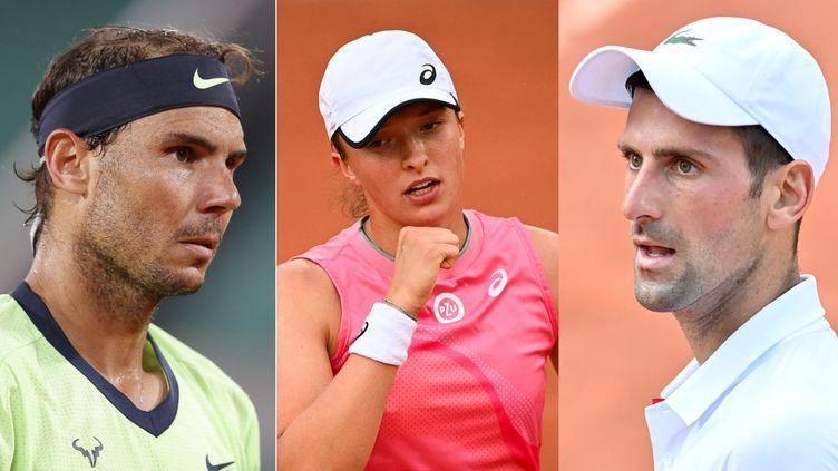 De gauche à droite : Rafael Nadal, Iga Swiatek, Novak Djokovic. (AFP)
