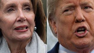 A gauche,Nancy Pelosi, leader démocrate du Congrès. A droite, Donald Trump, président des Etats-Unis. (SAUL LOEB / AFP)