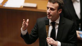 Emmanuel Macron, le 17 février à l'Assemblée nationale à Paris. (PATRICK KOVARIK / AFP)