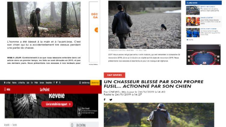 Plusieurs sites d'actualité ont évoqué un accident de chasse vieux de quatre ans comme un fait nouveau (Capture d'écran sites d'information)