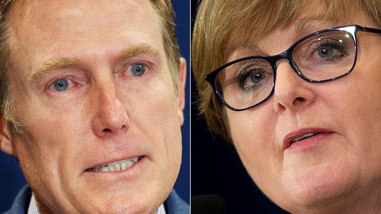 Le principal conseiller juridiqueaustralien, Christian Porter, le 3 mars 2021 à Perth (Australie), et la ministre de la Défense, Linda Reynolds, le 28 juillet 2020 à Washington (Etats-Unis). (STEFAN GOSATTI / AFP)