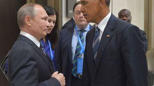 Vladimir Poutine et Barack Obama lors d'une rencontre, en Chine, le 5 septembre 2016. (ALEXEI DRUZHININ/AP/SIPA / AP)