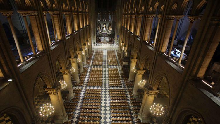 La nef de Notre-Dame de Paris mise en valeur  (Remy de la Mauviniere/AP/SIPA)