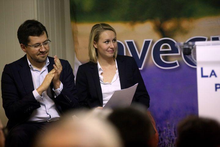 L'ancien président des Jeunes actifs, Franck Allisio, et la députée frontisteMarion Maréchal-Le Pen, le 12 novembre 2015 à Aix-en-Provence. (MAXPPP)