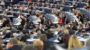 Les députés européens votent, dans l'hémicycle du Parlement européen, le 20 novembre 2012. (PATRICK HERTZOG / AFP)