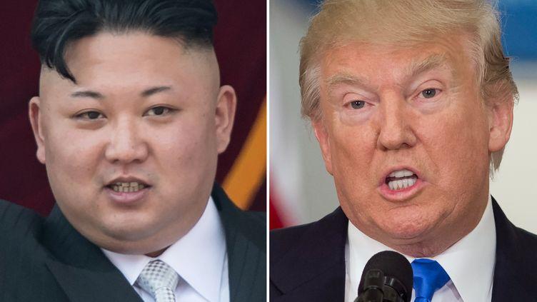 Le dirigeant nord-coréen, Kim Jong-un, le 15 avril 2017 à Pyongyang et le président américain, Donald Trump, le 19 juillet 2017 à Washington. (SAUL LOEB / AFP)
