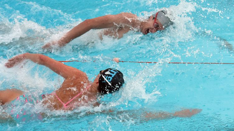 Des nageurs s'entraînent à la piscine olympique de Sidney, en Australie, le 23 février 2016. (WILLIAM WEST / AFP)