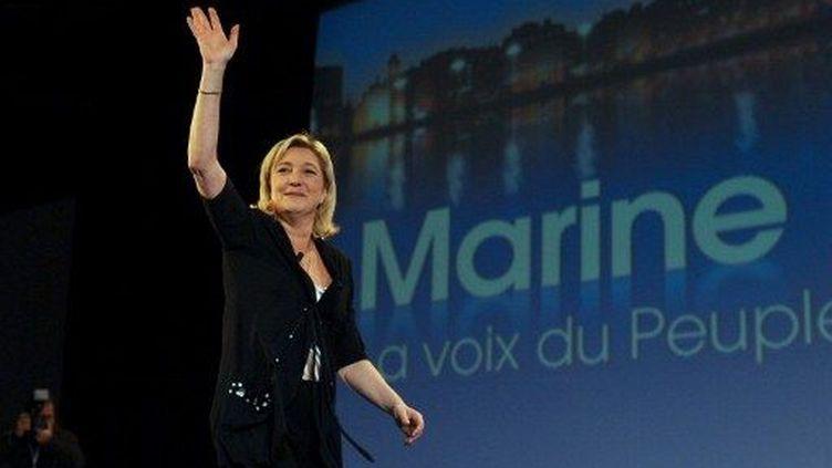 Marine Le Pen au meeting de Marseille (AFP/Martin Bureau)