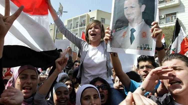 Manifestation de partisans du président Bachar Al Assad à Damas le 29 mars 2011 (AFP - LOUAI BESHARA)