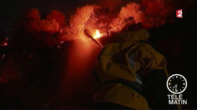 Des pompiers luttent contre les flammes à Castagniers (Alpes-Maritimes), dans la nuit du 17 juillet au 18 juillet 2017. (FRANCE 2)