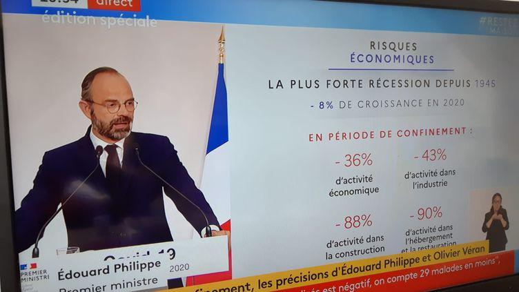 Conférence de presse du dimanche 19 avril 2020, à Matignon. (ANTOINE DENÉCHÈRE / RADIOFRANCE)