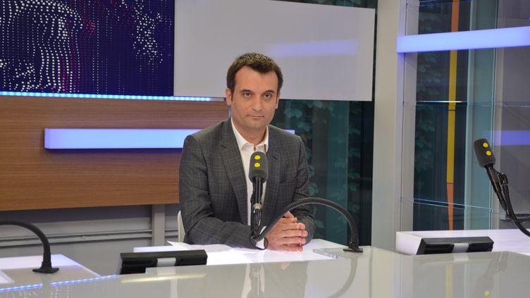 Florian Philippot, vice-président du FN, invité de franceinfo le 31 mai 2017. (RADIO FRANCE / JEAN-CHRISTOPHE BOURDILLAT)