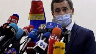 Gérald Darmanin, en Tunisie , le 6 novembre 2020. (FETHI BELAID / AFP)