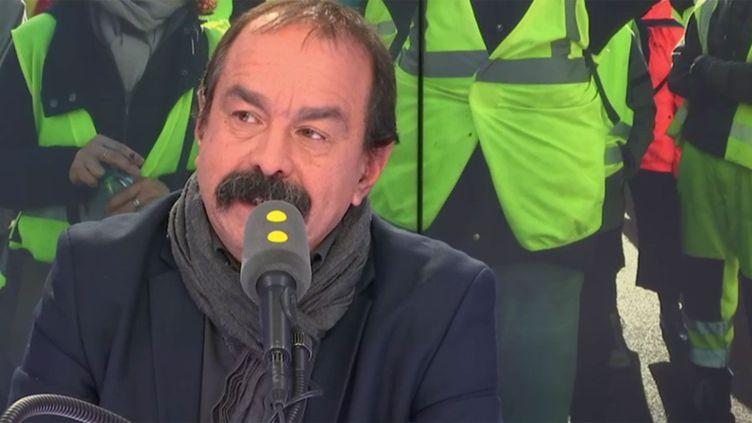 Philippe Martinez, secrétaire général de la CGT, sur franceinfo le 28 novembre 2018. (RADIO FRANCE / FRANCE INFO)