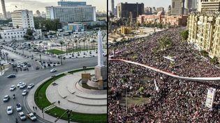 La place Tahrir en Egypte le 23 novembre 2020 (à gauche) et le 18 février 2011 (à droite). (KHALED DESOUKI / AFP)