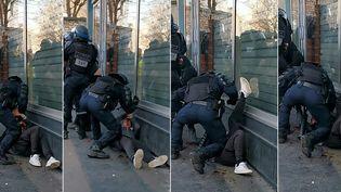 """Combinaison d'images créée le 19 janvier 2020 et tirée d'une vidéo diffusée par un manifestant la veille, montrant un policier anti-émeute en train de tabasser un manifestant en marge de la mobilisation des """"gilets jaunes"""" près de la gare de l'Est, à Paris. (- / HANDOUT)"""