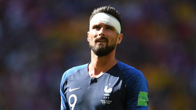 Olivier Giroud, avec les Bleus, lors du match contre l'Australie au Mondial, le 16 juin 2018. (MAXPPP)