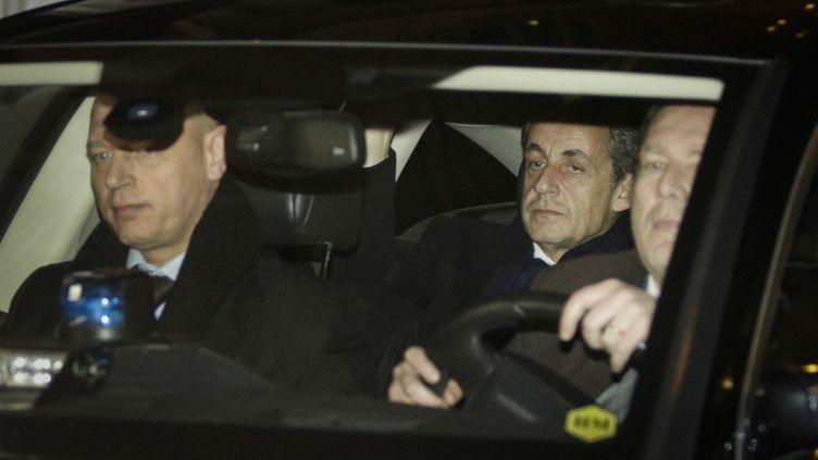 Nicolas Sarkozy quitte le pôle finanicer le 16 février 2016 (GEOFFROY VAN DER HASSELT / AFP)