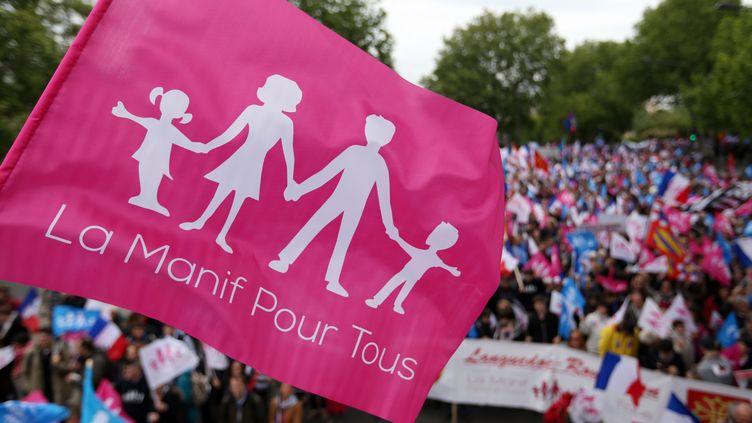Lors d'une manifestation contre l'ouverture du mariage aux couples homosexuels, le 26 mai 2013, à Paris. (THOMAS SAMSON / AFP)