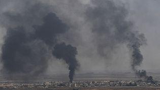 De la fumée s'échappe de la ville de Ras Al-Ain (Syrie), le 11 octobre 2019. (OZAN KOSE / AFP)