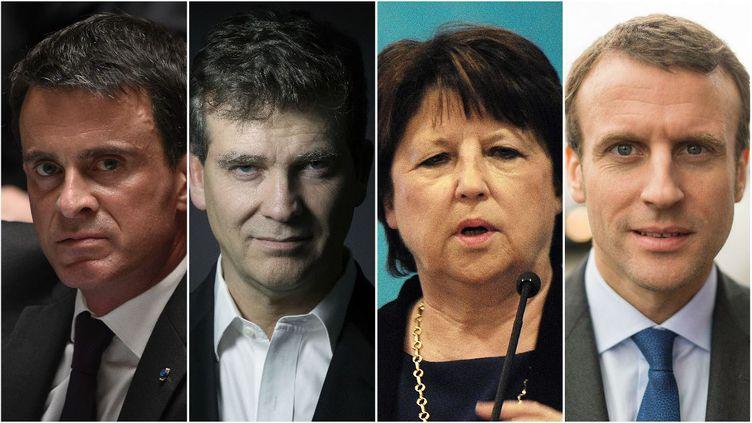 De gauche à droite : le Premier ministre Manuel Valls, l'ancien ministre du Redressement productif Arnaud Montebourg, la maire PS de Lille Martine Aubry et le ministre de l'Economie Emmanuel Macron. (AFP)