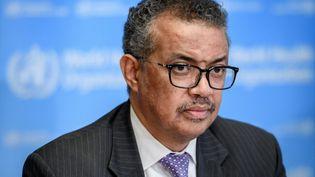 Le directeur général de l'Organisation mondiale de la Santé,Tedros Adhanom Ghebreyesus, au siège de l'organisation, à Genève (Suisse), le 9 mars 2020. (FABRICE COFFRINI / AFP)