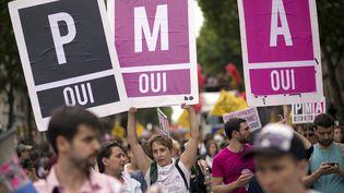 Des militants pour la PMA pour tous manifestent à Paris, le 29 juin 2013. (LIONEL BONAVENTURE / AFP)
