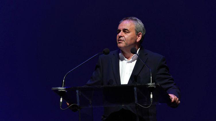 Le président de la région des Hauts-de-France, Xavier Bertrand, lors d'une conférence de presse sur le festival Séries Mania à Lille (Nord), le 1er juillet 2021. (SYLVAIN LEFEVRE / HANS LUCAS / AFP)