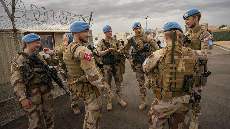 Des soldats norvégiens de la Minusma en postedans un camp deBamako, au Mali, le 31 mai 2019. (JUNGE, HEIKO / NTB SCANPIX MAG)
