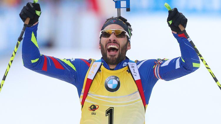 La rage et la joie de Martin Fourcade après une nouvelle victoire ! (KARL-JOSEF HILDENBRAND / DPA)