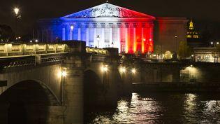 L'Assemblée nationale illuminée de bleu, blanc et rouge, après les attentats de Paris, le 17 novembre 2015. (JOEL SAGET / AFP)
