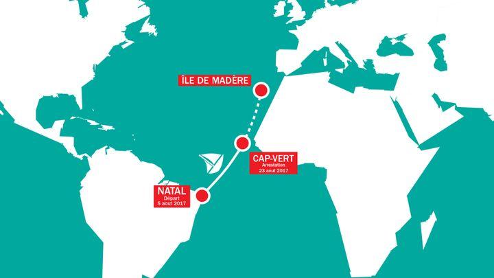 De Natal (Brésil) à Madère (Portugal), le trajet du Rich Harvest interropu au Cap-Vert dans l'océan Atlantique. (THOMAS JOST / RADIO FRANCE)