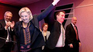 Marine Le Pen et Florian Philippot, le 25 novembre, à Hayange (Moselle). (FRANCOIS NASCIMBENI / AFP)